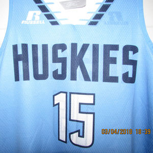 edc5ee259ea Russell Athletic Tops - HUSKIES 15 Reversible Blue White Basketball Jersey
